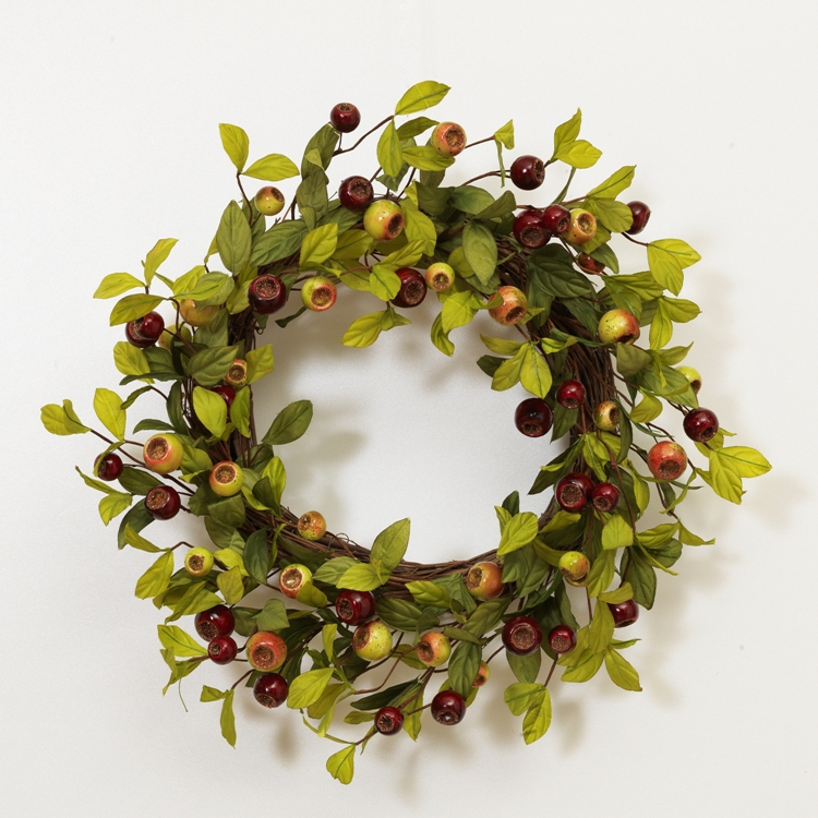 "Green Leaf Wreath - ""Natural Twig with Red and Green Berry Wreath"""
