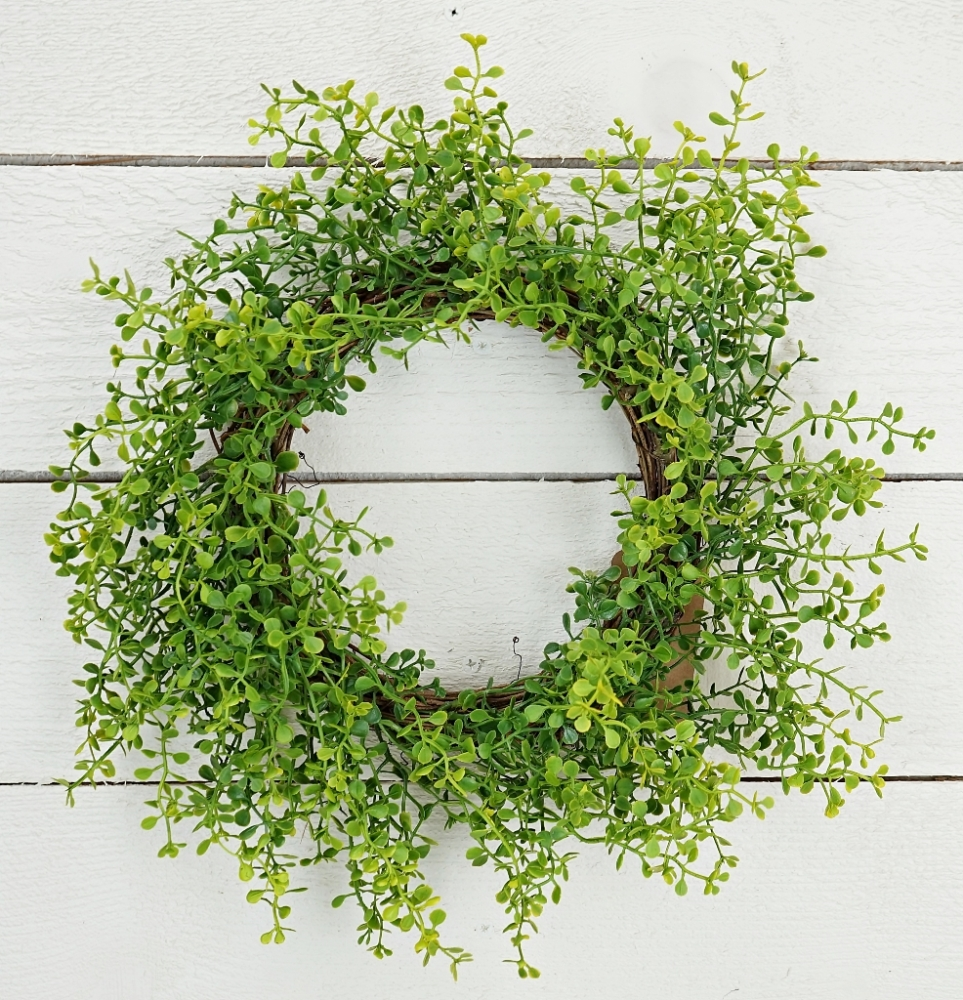 "Green Leaf Wreath - ""Sprout Grass Leaf Wreath"" - 16 Inch"