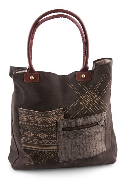 "Handbag - ""Mona B - Tribal Patch Tote Bag"""