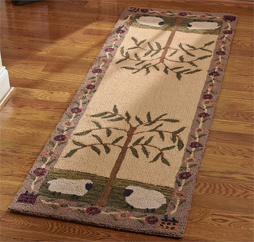 """Hooked Rectangle Rug - """"Willow And Sheep Runner"""" 24"""" x 72"""""""