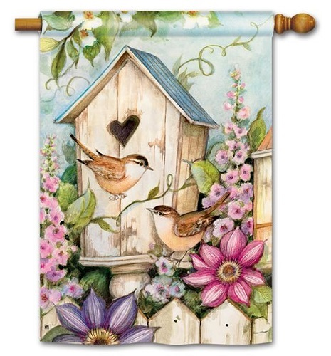 "House Flag - ""Cottage Birdhouse House Flag"""