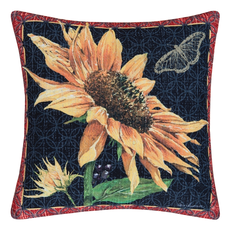 Indoor/Outdoor Pillow - Sunflower & Butterfly - 18in