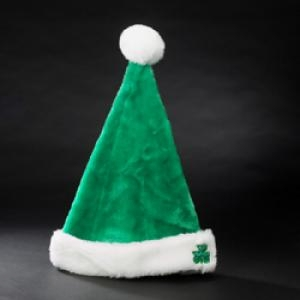 "Irish Santa Hat  - ""Plush Green Santa Hat with Shamrock on Cuff"""
