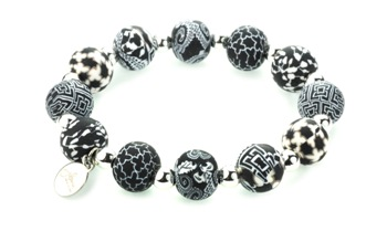 "Jilzarah� Medium  Silverball Bracelet - ""Black/White"""