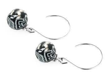 "Jilzarah� Small Silverball Earrings - ""Black/White"""