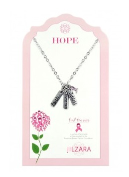 "Jilzarah Necklace - ""Charm Necklace - Pink Ribbon"""