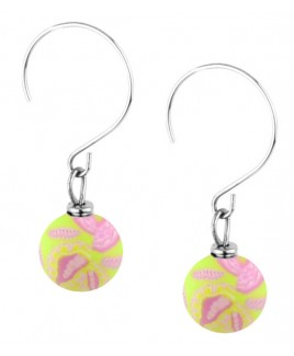 "Jilzarah� Small Bead Earrings - ""Paisley Pink"""