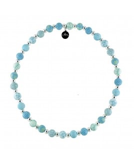 "Jilzarah� Small Silverball Necklace - ""Cerulean Blue"""