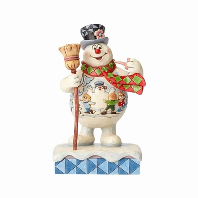 "Jim Shore Figurine - ""Frosty with Scene on Belly with Broom"""
