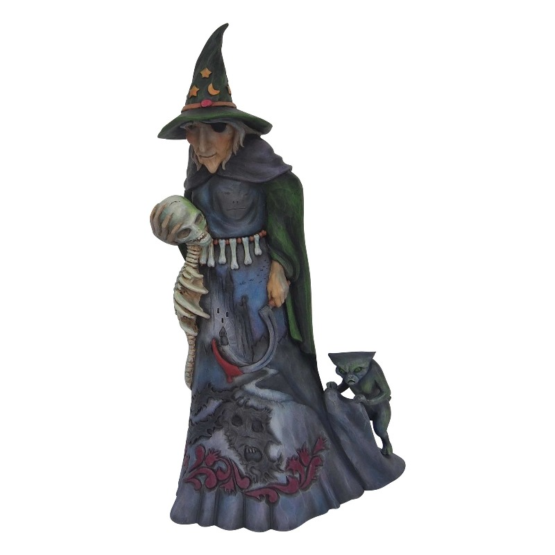 "Jim Shore Figurine - ""Halloween Witch with Skull"" - 2018"