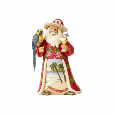 "Jim Shore Figurine - ""Margaritaville Santa with Parrot"""