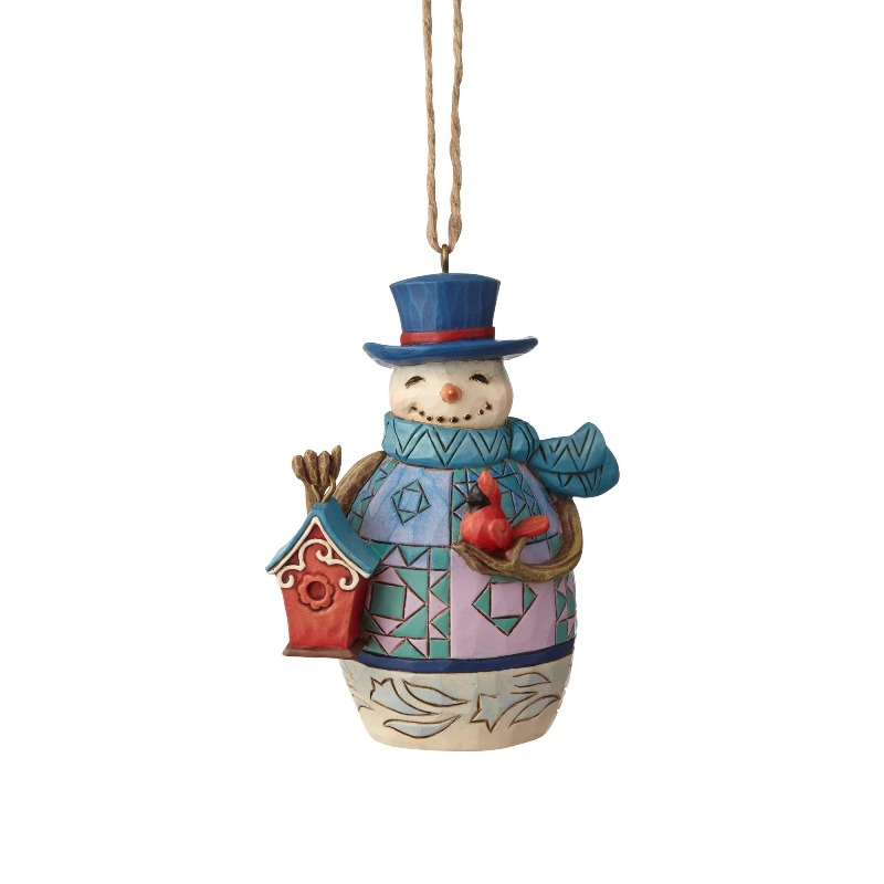 "Jim Shore Figurine - ""Mini Snowman with Birdhouse Ornament"" - 2018"