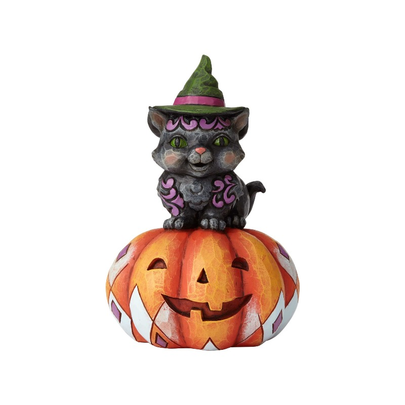 "Jim Shore Figurine - ""Pint Sized Black Cat on Pumpkin"" - 2018"