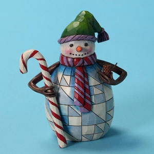"Jim Shore Figurine - ""Pint Sized Snowman With A Candy Cane Figurine"""