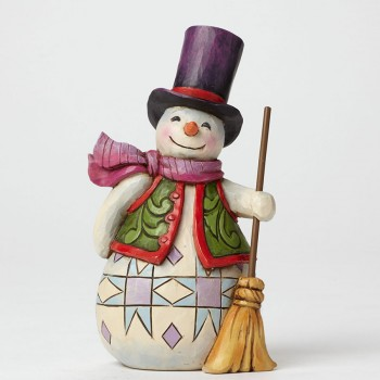 "Jim Shore Figurine - ""Pint Sized Snowman with Broom Figurine"""