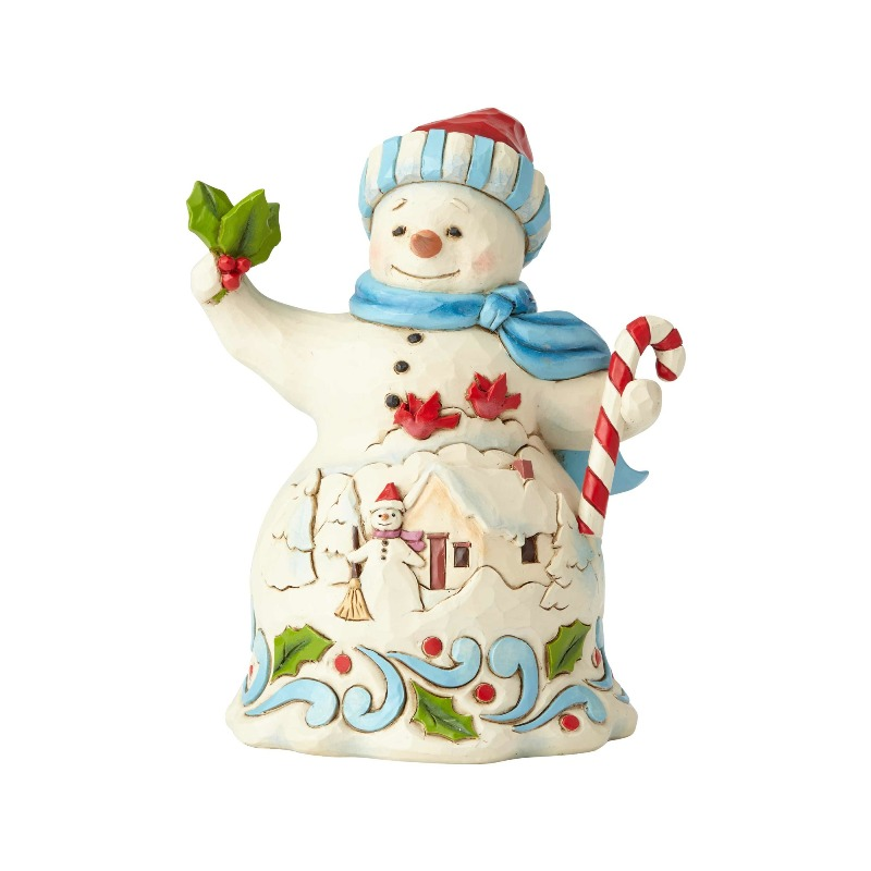 "Jim Shore Figurine - ""Pint Sized Snowman with Candy"" - 2018"