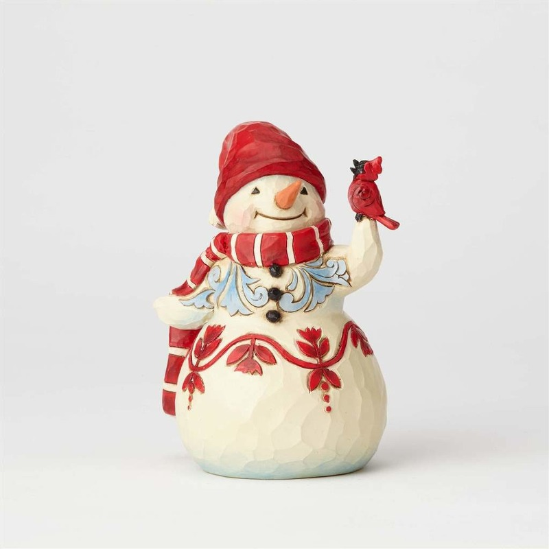 "Jim Shore Figurine - ""Pint Sized Snowman with Cardinal"""