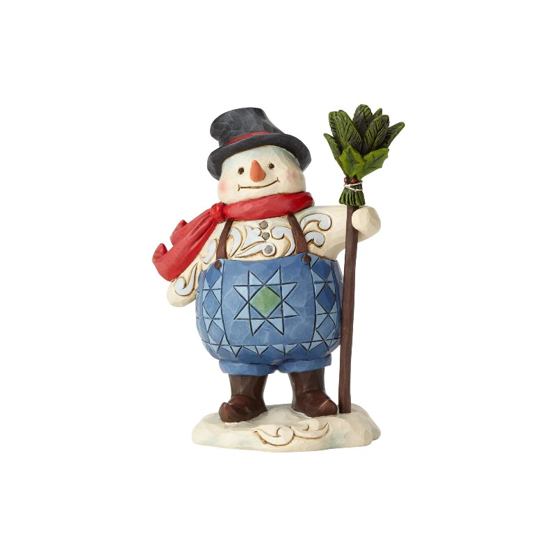 "Jim Shore Figurine - ""Pint Sized Suspenders Snowman"" - 2018"