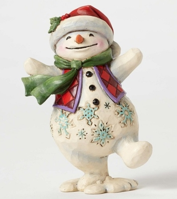 "Jim Shore Figurine - ""Pint Sized Walking Snowman Figurine"""
