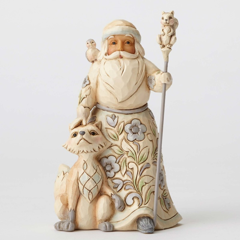 "Jim Shore Figurine - ""White Woodland Santa with Fox"""