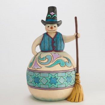 "Jim Shore Figurine - ""Rolling By To Say Hello Snowman Figurine"""