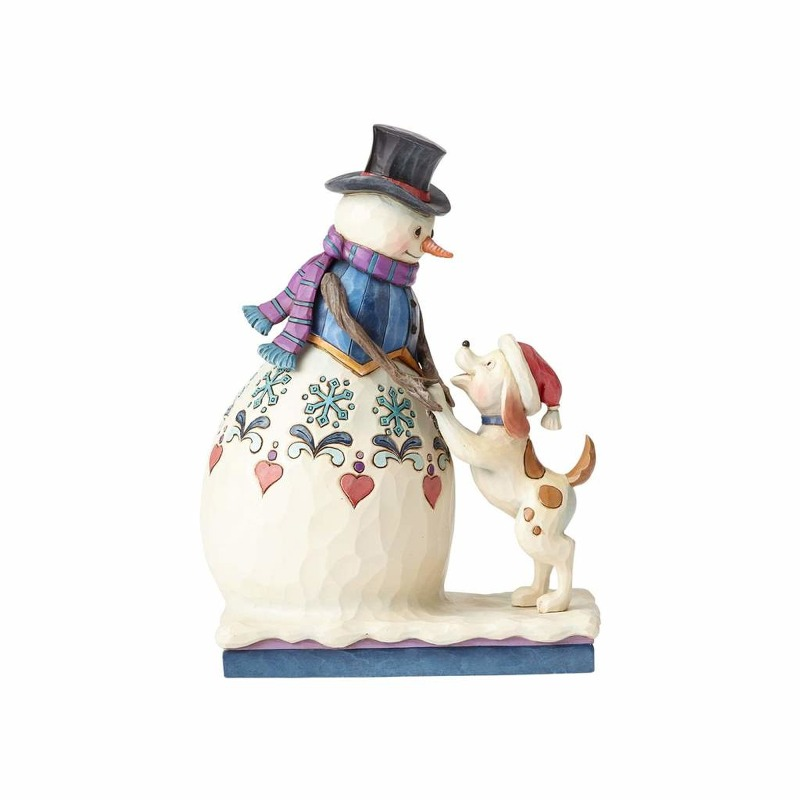 "Jim Shore Figurine - ""Snowman in Tophat with Puppy"""