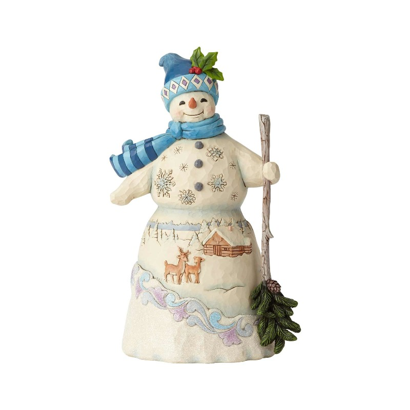 "Jim Shore Figurine - ""Snowman with Broom"" - 2018"