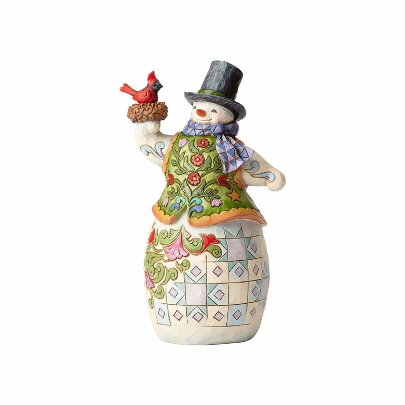 "Jim Shore Figurine - ""Snowman with Cardinal in Nest"""