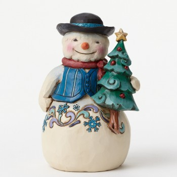 "Jim Shore Figurine - ""Pint Sized Snowman with Tree Figurine"""