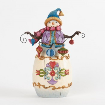 "Jim Shore Figurine - ""Trimmed In Good Tidings - Snowman with Ornaments Figurine"""