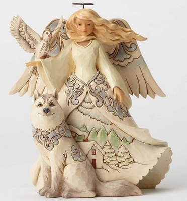 "Jim Shore Figurine - ""White Woodland Angel With Husky Figurine"""