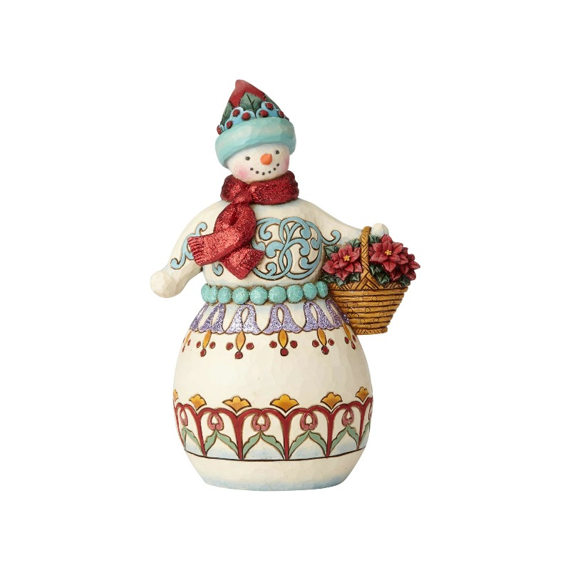 "Jim Shore Figurine - ""Wonderland Snowman with Basket"" - 2018"