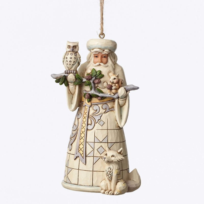 "Jim Shore Figurine - ""White Woodland Santa Ornament"""