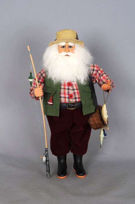 Karen Didion Santa - 16in - Fishing Santa