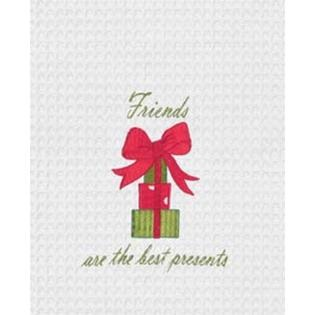 "Kitchen Towel - ""Friends Are The Best Presents Embroidered Kitchen Towel"""