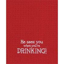 "Kitchen Towel - ""He Sees You When You're Drinking!... Kitchen Towel"""