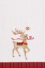 "Kitchen Towel - ""Reindeer Wonderland Embroidered Kitchen Towel"""