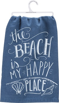 "Kitchen Towel - ""The Beach Is My Happy Place... Kitchen Towel"""