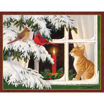 "Lang Boxed Assorted Christmas Cards - ""Kitten Christmas"" -  Artist Persis Clayton Weirs"