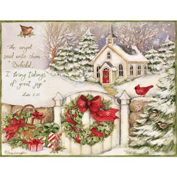 "Lang Boxed Assorted Christmas Cards - ""Little Church"" -  Artist Susan Winget"