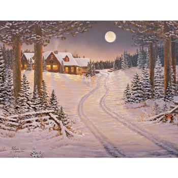 "Lang Boxed Assorted Christmas Cards - ""Meadowlands Cabin"" - Artist Sam Timm"