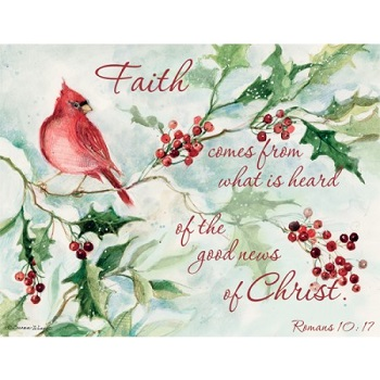 "Lang Boxed Christmas Cards - ""Cardinal and Berries"" - Artist Susan Winget"