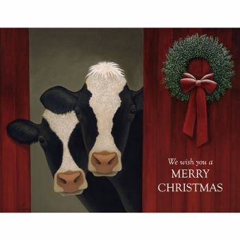 "Lang Boxed Christmas Cards - ""Holiday Cows"" - Artist Lowell Herrero"