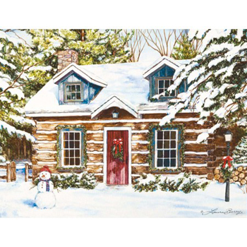 "Lang Boxed Christmas Cards - ""Log Cabin"" - Artist Laura Berry"