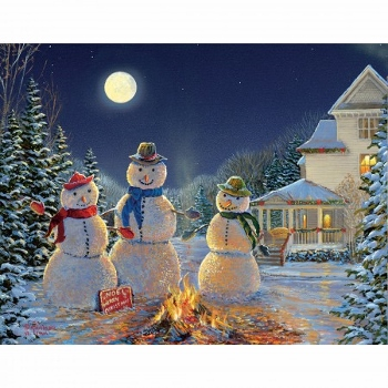 Lang Boxed Christmas Cards - Moonlit Snowmen - Sam Timm