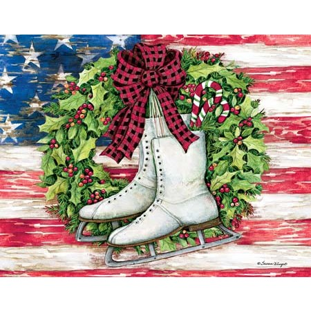 lang boxed christmas cards patriotic skates artist susan winget - Patriotic Christmas Cards