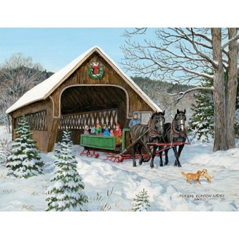 "Lang Boxed Christmas Cards - ""Sleigh Ride"" - Artist Persis Clayton Weirs"