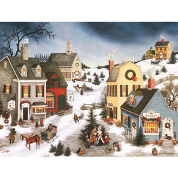 lang boxed religious christmas cards caroling in the village artist linda nelson