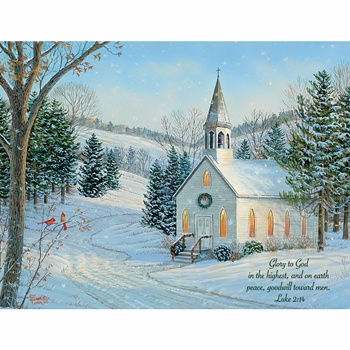 "Lang Boxed Religious Christmas Cards - ""Country Cheer"" - Artist Sam Timm"