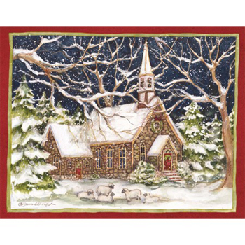 "Lang Boxed Religious Christmas Cards - ""Stone Church"" - Artist Susan Winget"